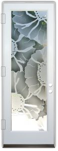 glass front doors etched glass eclectic decor sunflowers floral pattern