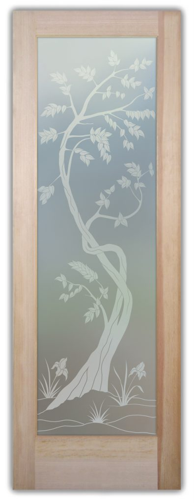 Sapling 1D Private Etched Glass Doors