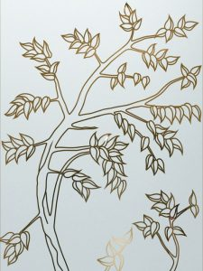 Sapling with Glass Etching Asian Decor
