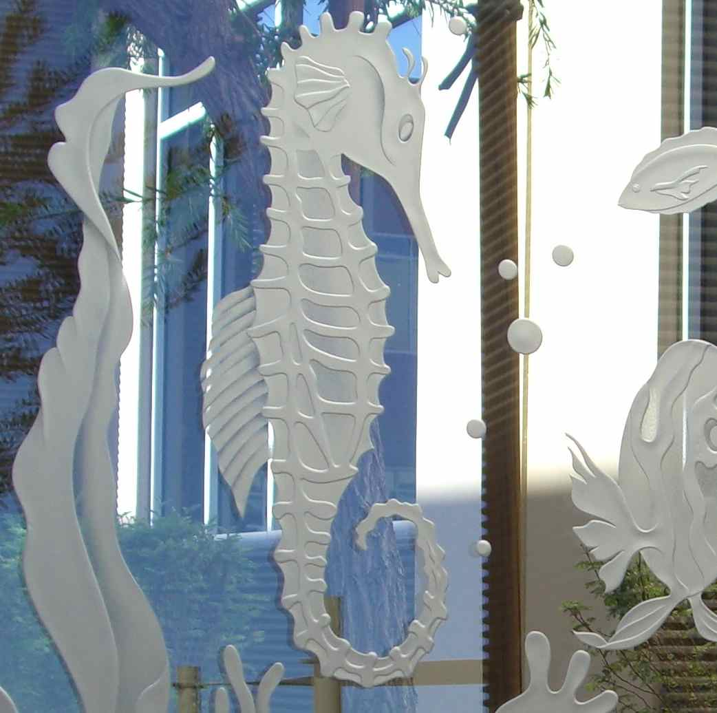 etched glass seahorse