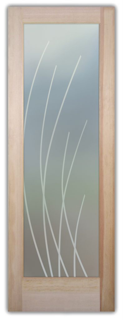 Sleek Arcs 1D Private Etched Glass Doors