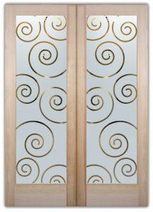 Swirls Interior Doors With Glass Etching Art Deco Style