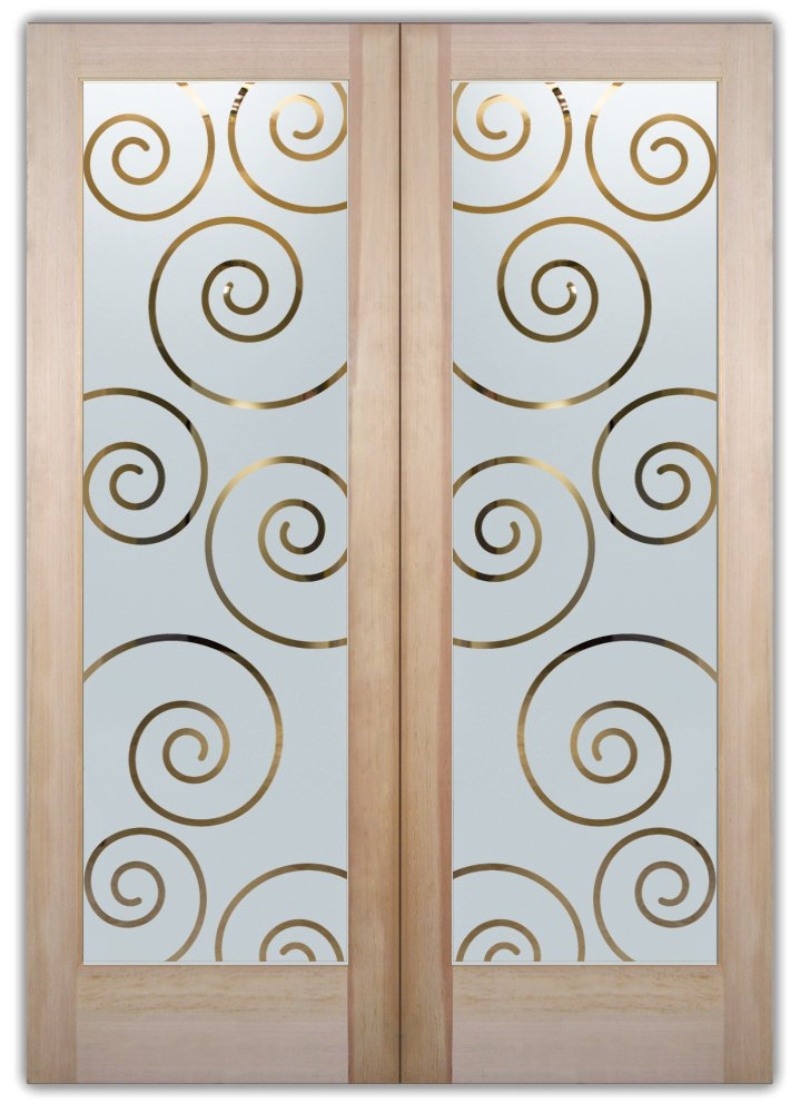 Swirls etched glass front doors art deco design for Glass etching designs for doors