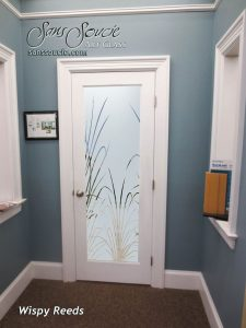Interior Glass Doors Etched Glass Tropical Decor Wispy Reeds Foliage