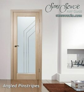 Angled Pinstripes Front Entry Doors with Glass Etching Modern Style
