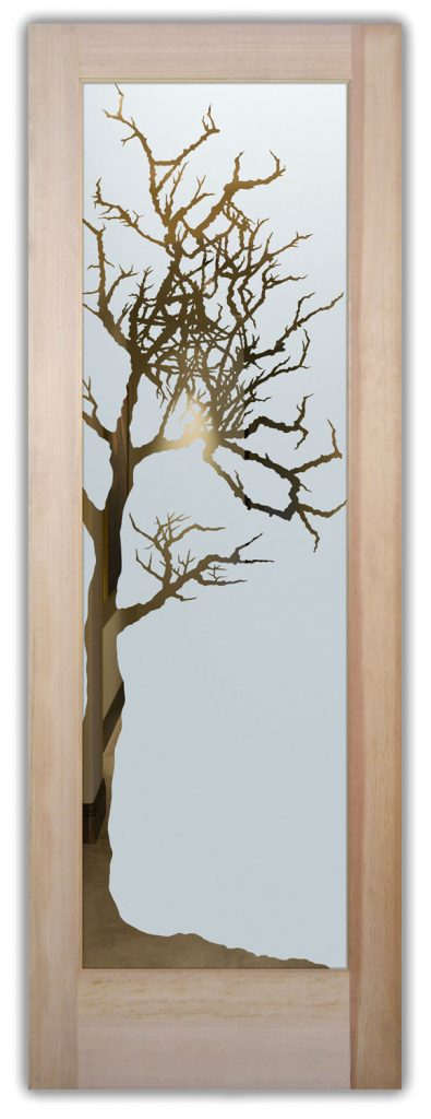 winter tree interior door or exterior door