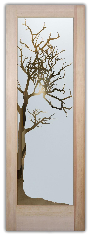 Winter Tree Rustic Design Interior Etched Glass Doors