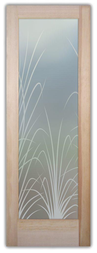 Wispy Reeds 1D Private Etched Glass Door