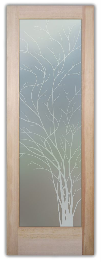 Wispy Tree 1D Private Etched Glass Door