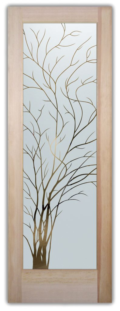 interior frosted glass doors etched glass designs branches nature rustic decor sans soucie wispy tree