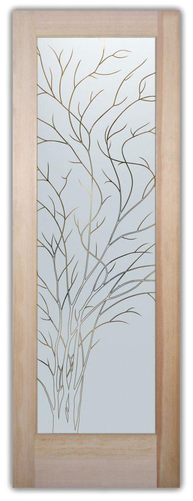Wispy Tree 1D Pinstripe Etched Glass Door