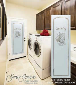 Sans Soucie Laundry Room Door Solid Etched