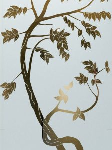 frosted glass asian style leafy trees wooden sapling sans soucie