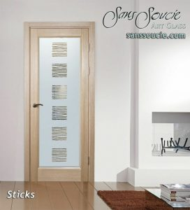 glass entry doors frosted glass rustic design patterns lines understated sticks sans soucie