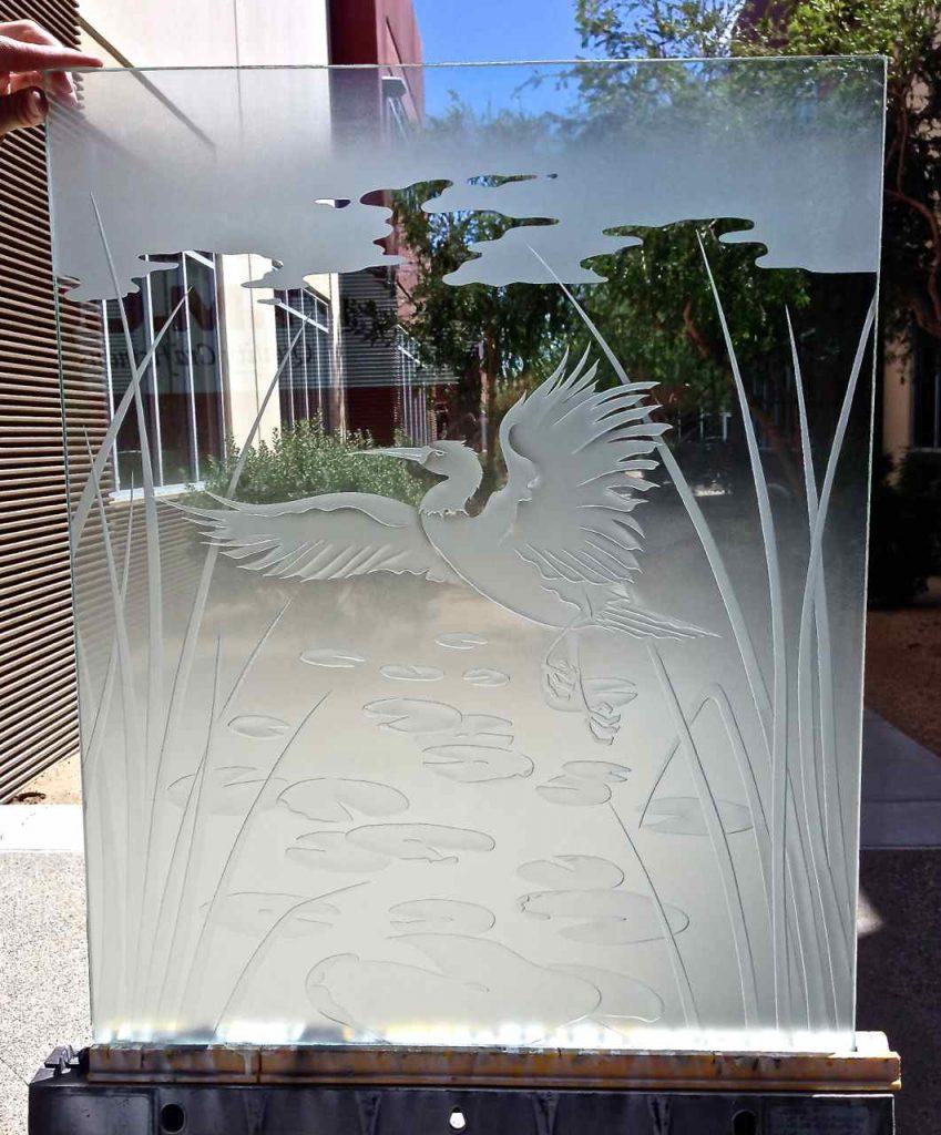 glass window etched glass Asian design birds foliage dancing egret 3d sans soucie