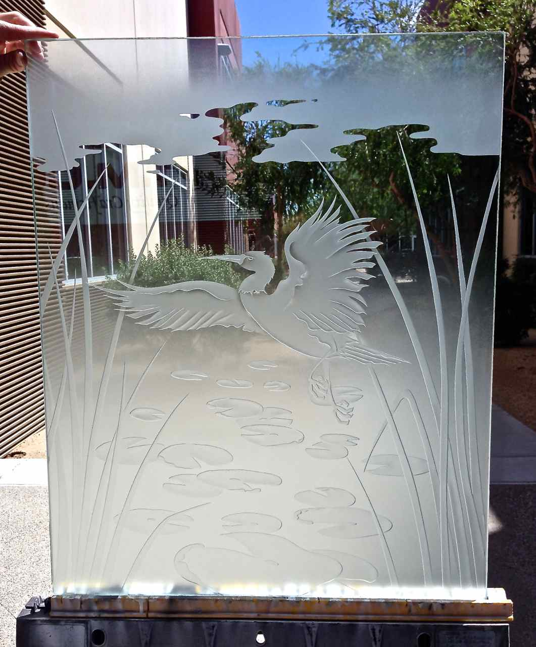 Dancing Egret 3d Glass Window Etched Glass Asian Design