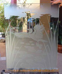 glass window etching glass Asian design animals foliage dancing egret 3d sans soucie