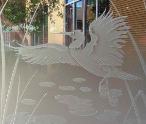 glass window custom glass Asian style birds lily pads dancing egret 3d sans soucie