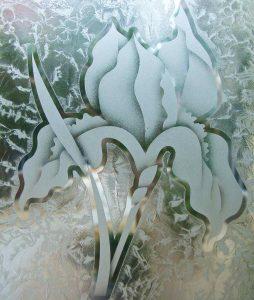 glass etching iris flower 2D gluehcip