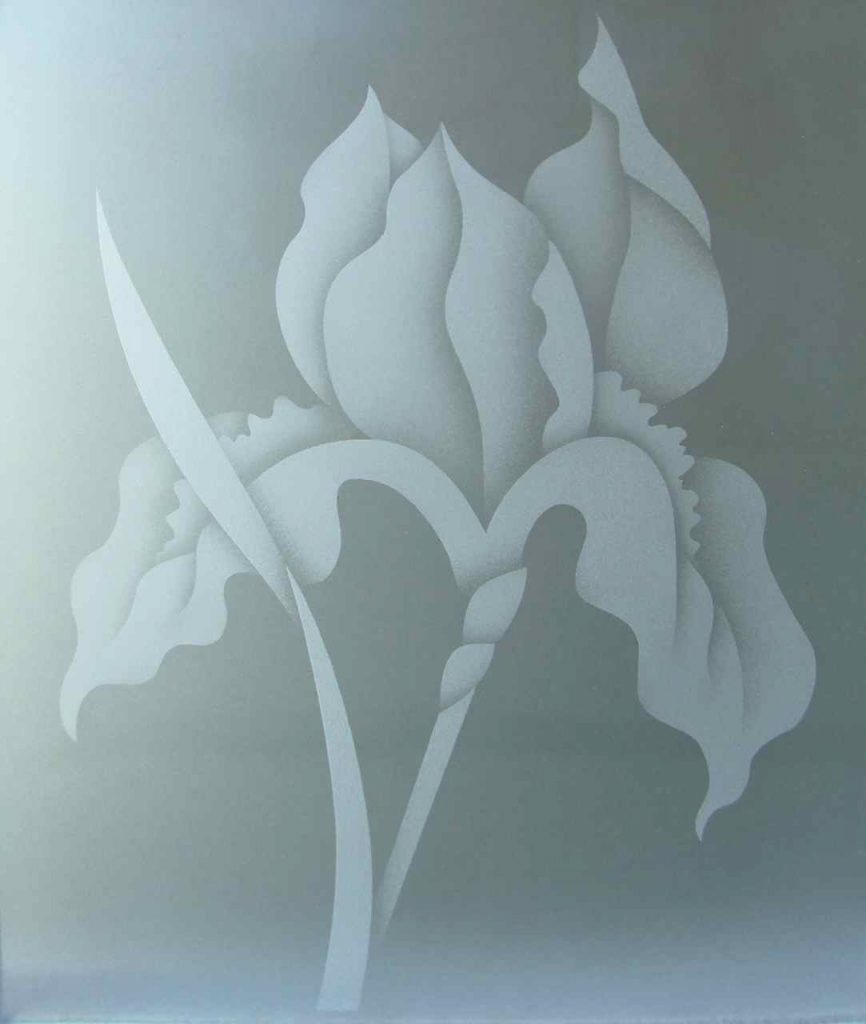 etched glass iris flower 2D private