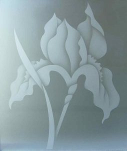 2D private etched glass iris flower