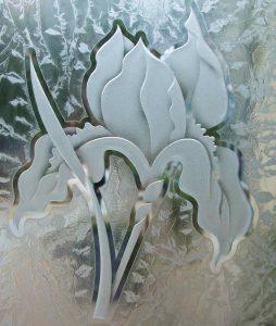 glass etching iris flower 3D gluechip