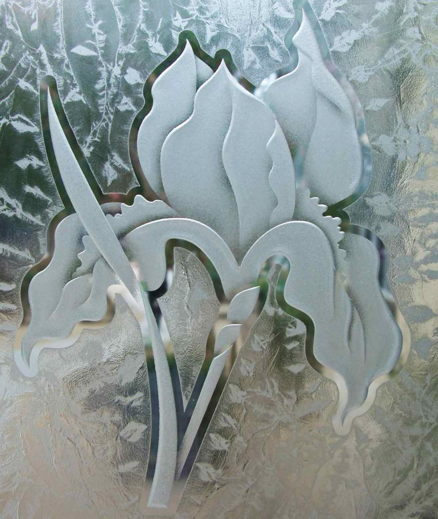 etched glass iris flower 3D Gluechipped