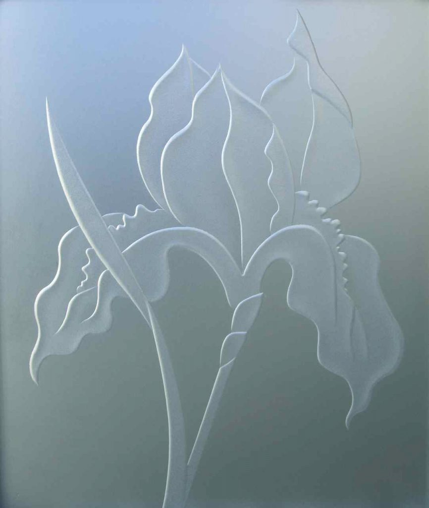 3D private iris flower etched glass