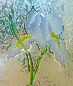 glass etching iris flower 3D painted gluechip