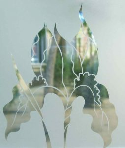 frosted glass iris flower negative etch