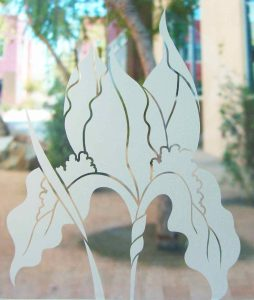 etched glass iris flower frost