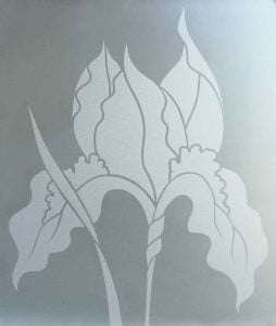 solid frost private etched glass iris flower