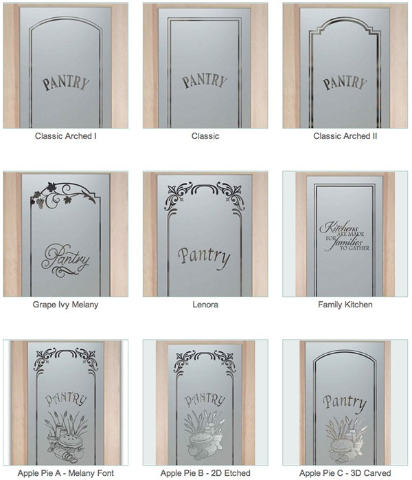 Etched glass pantry door sans soucie art glass Kitchen profile glass design