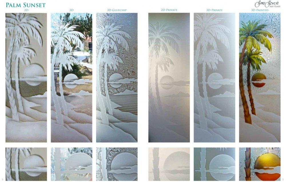 Genial Etched Glass Doors Palm Sunset