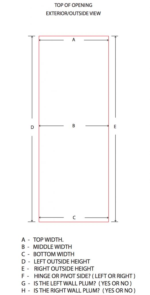 opening measurement for glass