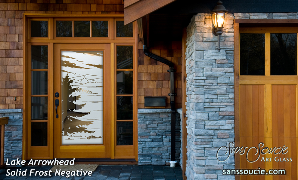 Frosted glass front door with mountain view i sans soucie lake arrowhead negative planetlyrics Image collections