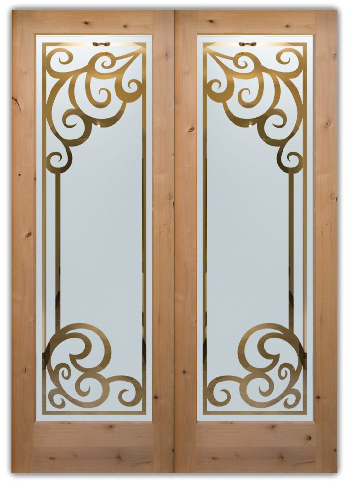 Frosted glass front doors sans soucie art glass Glass etching designs for kitchen doors
