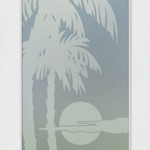 Palm Sunset 1D Private Frosted Interior Glass Door Landscape Decor