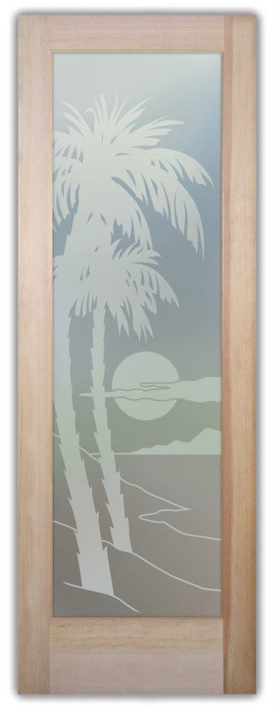 Palm Sunset 1D Private Etched Glass Door