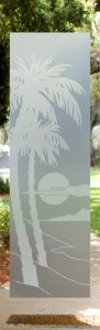 Palm Sunset 1D Private Frosted Front Glass Door Desert Decor