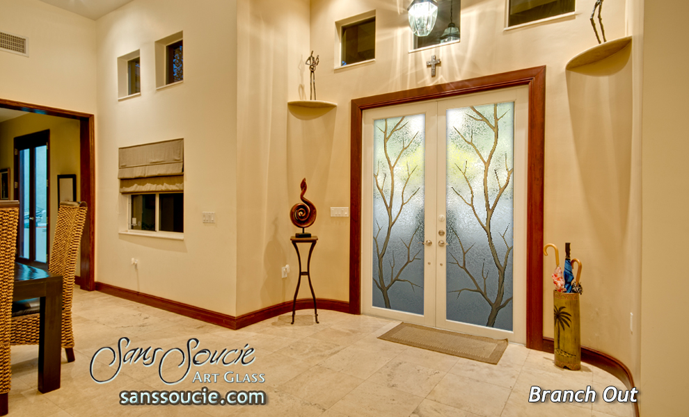 Glass front doors carved branchesfrosted glass front doors   Sans Soucie Art Glass. Luxury Entry Doors Design. Home Design Ideas