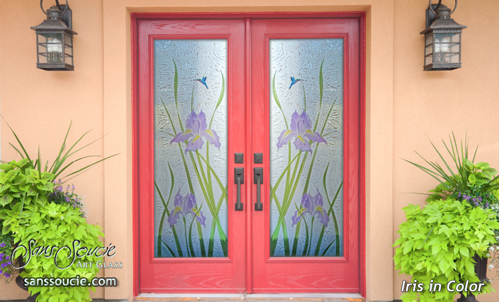 Decorative Floral Glass Shower Door Glass Front Doors With Beautiful Hand Painted Colors
