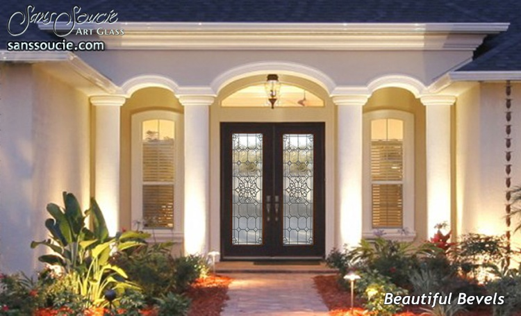 Glass Entry Doors with Custom Etched Glass, Beveled Glass