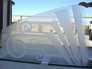 etched glass panel art deco style