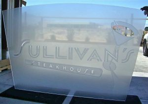sullivans steakhouse logo etched glass panel