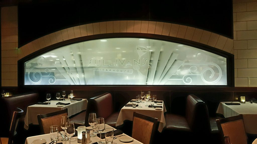 etched glass panel partition sullivans steakhouse sans soucie