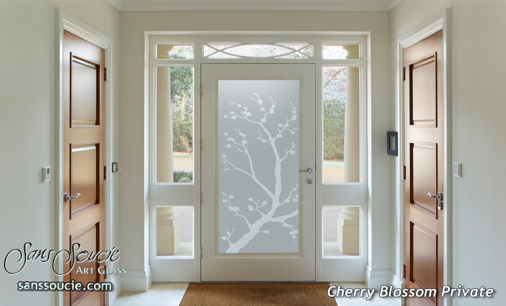 Glass Entry Door Etched Glass Asian Decor Cherry Blossom Floral Sans Soucie