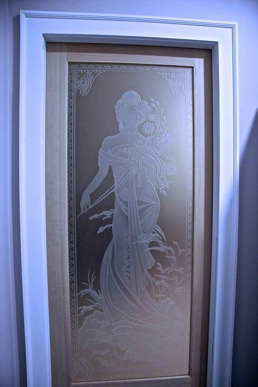 Printemps woman etched glass doors sans soucie interior glass doors etched glass french printemps woman portrait by sans soucie rubansaba
