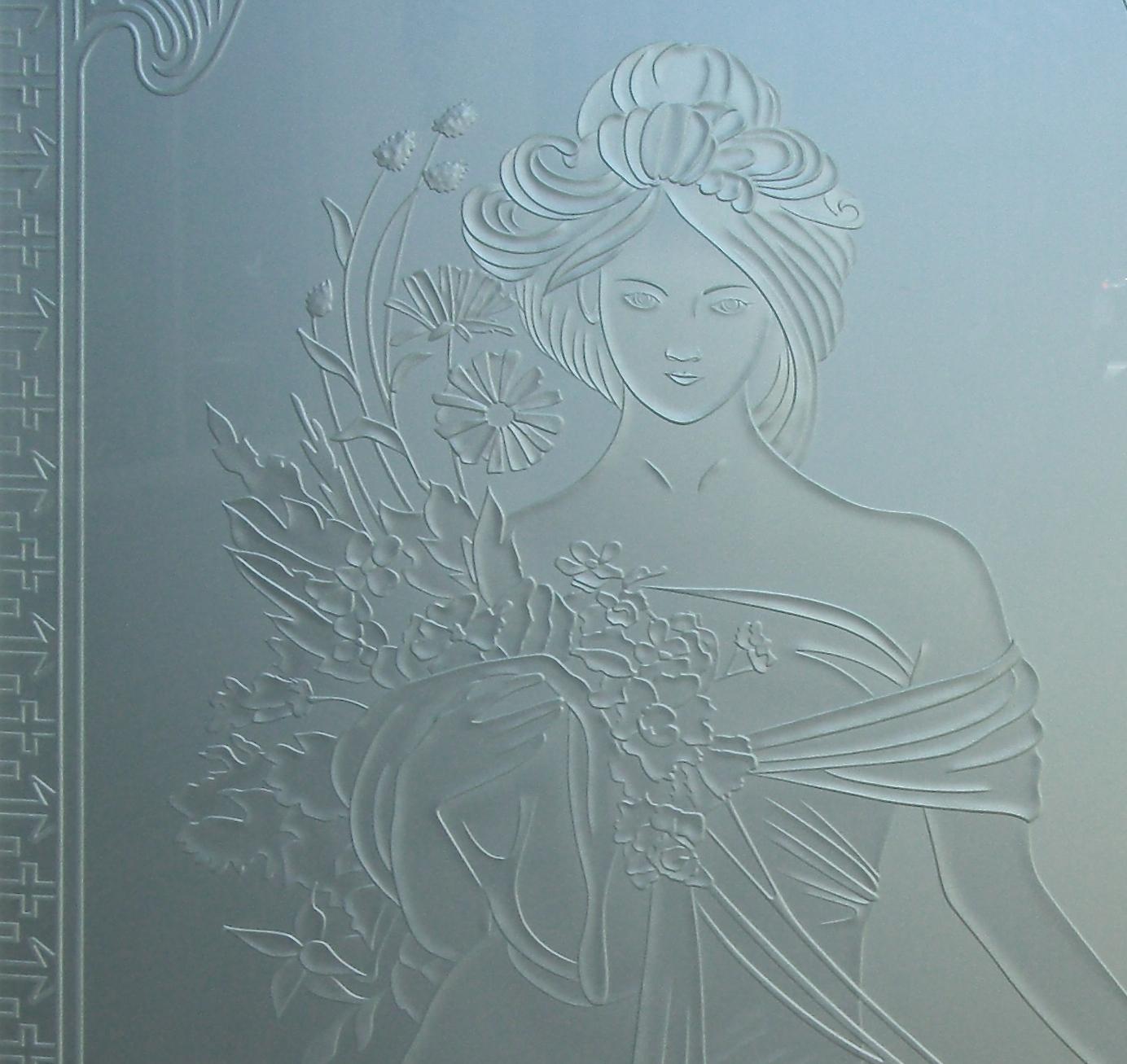 Printemps Woman Etched Glass Doors | Sans Soucie