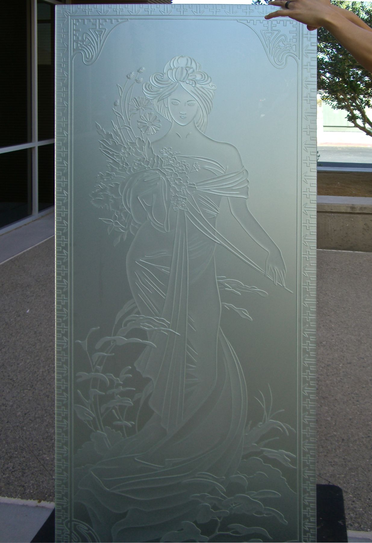 Printemps woman etched glass doors sans soucie interior glass doors with glass etching french printemps woman portrait by sans soucie rubansaba